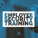"words ""employee security training"" over blue background with lock, email icons"